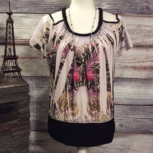 NEW Annabelle Butterfly Cold Shoulder Blouse